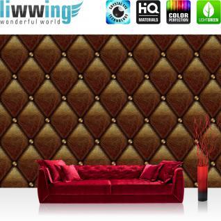 liwwing Vlies Fototapete 416x254cm PREMIUM PLUS Wand Foto Tapete Wand Bild Vliestapete - Sonstiges Tapete Lederoptik Knöpfe Leder Optik Textur Muster braun - no. 2512