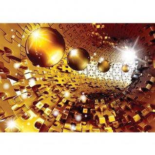 Fototapete 3D Tapete Abstrakt Kugel Puzzel Tunnel Licht 3D gelb   no. 949