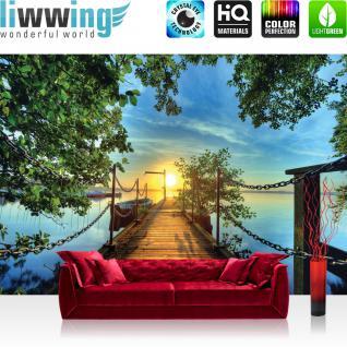 liwwing Vlies Fototapete 300x210 cm PREMIUM PLUS Wand Foto Tapete Wand Bild Vliestapete - Sonnenuntergang Tapete Sonnenuntergang Baum Weg Steg Boot blau - no. 636