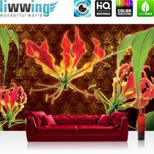 liwwing Vlies Fototapete 208x146cm PREMIUM PLUS Wand Foto Tapete Wand Bild Vliestapete - Pflanzen Tapete Bumen Pflanzen Ornamente bunt - no. 3104