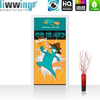 liwwing Vlies Türtapete 91x211 cm PREMIUM PLUS Tür Fototapete Türposter Türpanel Foto Tapete Bild - DISNEY Phineas und Ferb Kindertapete Schnabeltier Karate - no. 1061