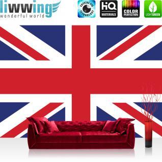 liwwing Vlies Fototapete 416x254cm PREMIUM PLUS Wand Foto Tapete Wand Bild Vliestapete - London Tapete Flagge London Hauptstadt bunt - no. 1302