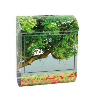 Edelstahl Wandbriefkasten XXL mit Motiv & Zeitungsrolle   Natur Mohn Feld Baum Wald Bäume rot grün Idyll   no. 0090