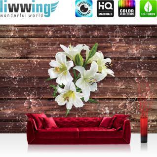 liwwing Vlies Fototapete 312x219cm PREMIUM PLUS Wand Foto Tapete Wand Bild Vliestapete - Orchideen Tapete Orchidee Blume Blüte Pflanze Wasser Tropfen Spiegelung blau - no. 2054