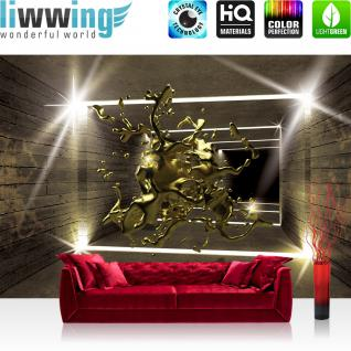 liwwing Vlies Fototapete 152.5x104cm PREMIUM PLUS Wand Foto Tapete Wand Bild Vliestapete - Architektur Tapete Tunnel Wand Licht Architektur Holzwand Holz Tropfen Kunst gold - no. 2419