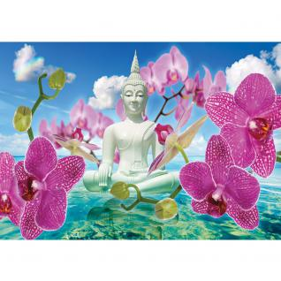 liwwing Vlies Fototapete 350x245 cm PREMIUM PLUS Wand Foto Tapete Wand Bild Vliestapete - Orchideen Tapete Buddah Orchidee Wolke Wasser Himmel Blüte blau - no. 589 - Vorschau 2