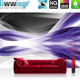 liwwing Fototapete 368x254 cm PREMIUM Wand Foto Tapete Wand Bild Papiertapete - Kunst Tapete Abstrakt Design Streifen Linien Moderne lila - no. 2481