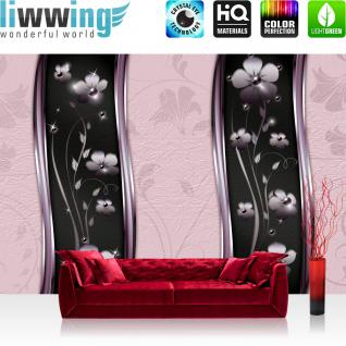 liwwing Vlies Fototapete 400x280 cm PREMIUM PLUS Wand Foto Tapete Wand Bild Vliestapete - Ornamente Tapete Blüten Blätter Ranke Sterne Muster Design lila - no. 812