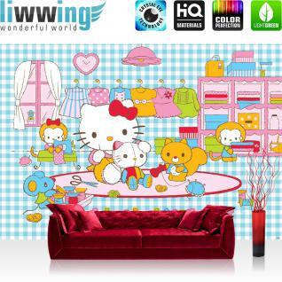 liwwing Vlies Fototapete 312x219cm PREMIUM PLUS Wand Foto Tapete Wand Bild Vliestapete - Mädchen Tapete Sanrio Hello Kitty Kindertapete Katzen Muster pink - no. 2513
