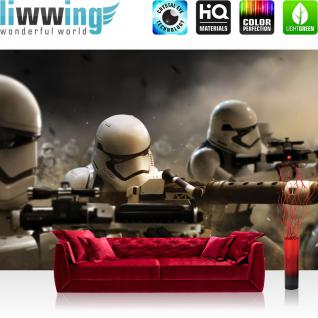 liwwing Fototapete 254x168 cm PREMIUM Wand Foto Tapete Wand Bild Papiertapete - Jungen Tapete STAR WARS Waffen Cartoon Illustration 3D schwarz weiß - no. 3132