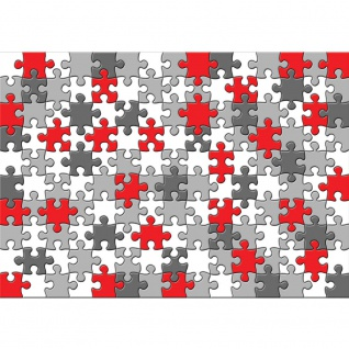 Fototapete Cartoon Tapete Puzzle, grau, rot, mehrfarbig bunt | no. 3241