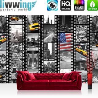 liwwing Vlies Fototapete 416x254cm PREMIUM PLUS Wand Foto Tapete Wand Bild Vliestapete - New York Tapete Amerika USA Taxi Brücke Collage schwarz weiß - no. 1665