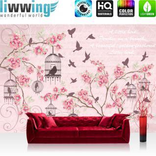 liwwing Vlies Fototapete 416x254cm PREMIUM PLUS Wand Foto Tapete Wand Bild Vliestapete - Illustrationen Tapete Blumen Vögel Käfig Schrift Kunst rosa - no. 3015