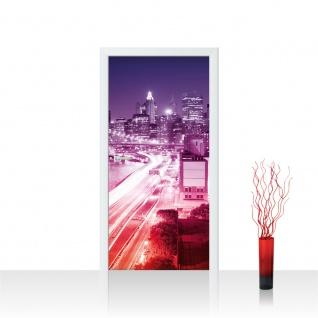 Türtapete - Skyline Straße New York Lightning | no. 571