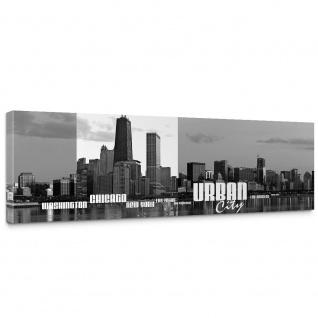 Leinwandbild Chicago New York Las Vegas Skyline Schrift Schwarz-Weiß Wasser | no. 281