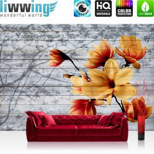 liwwing Fototapete 254x168 cm PREMIUM Wand Foto Tapete Wand Bild Papiertapete - Holz Tapetewand Holzoptik Malerei Blume Blätter Blüten Schatten grau - no. 1415