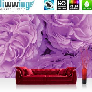 liwwing Vlies Fototapete 312x219cm PREMIUM PLUS Wand Foto Tapete Wand Bild Vliestapete - Blumen Tapete Blüten Blätter Natur lila - no. 3054