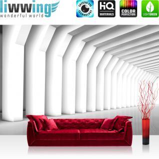liwwing Fototapete 254x168 cm PREMIUM Wand Foto Tapete Wand Bild Papiertapete - Kunst Tapete Abstrakt Balken Spiegelung weiß - no. 2604