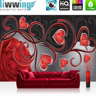 liwwing Vlies Fototapete 300x210 cm PREMIUM PLUS Wand Foto Tapete Wand Bild Vliestapete - Ornamente Tapete Herzen Rose Schnörkel Liebe Schwung rot - no. 890