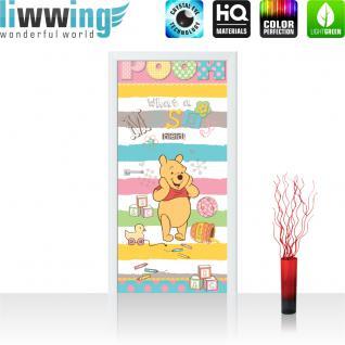liwwing Vlies Türtapete 91x211 cm PREMIUM PLUS Tür Fototapete Türposter Türpanel Foto Tapete Bild - DISNEY Winnie Pooh Kindertapete Cartoon Bär Spielzeug - no. 1120