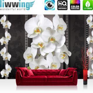 liwwing Vlies Fototapete 208x146cm PREMIUM PLUS Wand Foto Tapete Wand Bild Vliestapete - Orchideen Tapete Orchidee Blume Blüten schwarz weiß - no. 1583