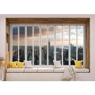 Fototapete New York Tapete Skyline, Fenster, Empire State Building, Hudson River, Fenster natural | no. 3439