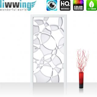 liwwing Vlies Türtapete 91x211 cm PREMIUM PLUS Tür Fototapete Türposter Türpanel Foto Tapete Bild - Abstrakt Kreise Blüten 3D Optik - no. 899