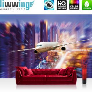 liwwing Vlies Fototapete 400x280 cm PREMIUM PLUS Wand Foto Tapete Wand Bild Vliestapete - Skylines Tapete Flugzeug Lightning bunt blau - no. 416