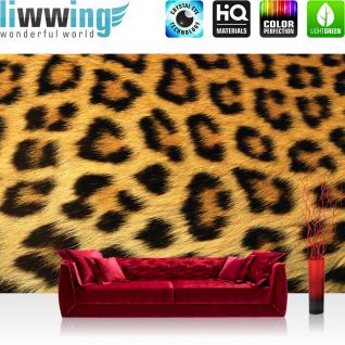 liwwing Vlies Fototapete 208x146cm PREMIUM PLUS Wand Foto Tapete Wand Bild Vliestapete - Tiere Tapete Leopard Fell Muster Flecken braun - no. 534