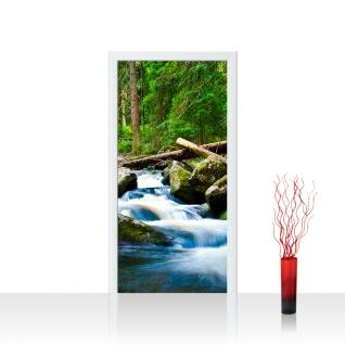 Türtapete - Waterfall Woods Wald Wasserfall Natur Baum grün | no. 31