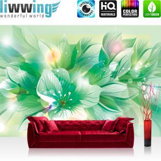 liwwing Vlies Fototapete 416x254cm PREMIUM PLUS Wand Foto Tapete Wand Bild Vliestapete - Blumen Tapete Blume Blüte Blätter Malerei Kunst grün - no. 1939