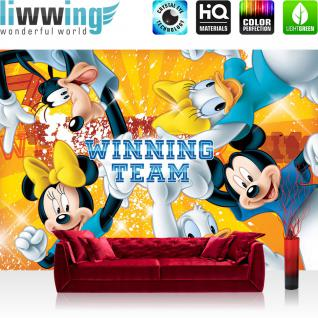 liwwing Vlies Fototapete 400x280 cm PREMIUM PLUS Wand Foto Tapete Wand Bild Vliestapete - Disney Tapete Disney - Mickey Mouse - Kindertapete Cartoon Comic Freunde Team Winning gelb - no. 314