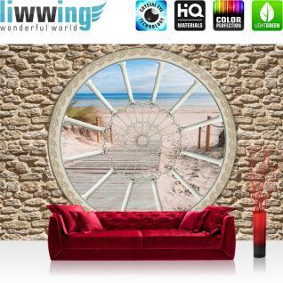 liwwing Fototapete 368x254 cm PREMIUM Wand Foto Tapete Wand Bild Papiertapete - Steinwand Tapete Steinoptik Steg Strand Meer Fenster beige - no. 2215
