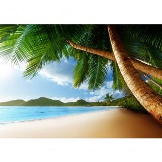 Fototapete Lonely Beach Strand Tapete Strand Meer Palmen Beach 3D Ozean Palme blau   no. 4