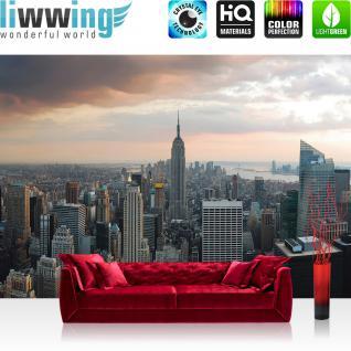 liwwing Vlies Fototapete 400x280 cm PREMIUM PLUS Wand Foto Tapete Wand Bild Vliestapete - Skylines Tapete Building Tower grau - no. 325