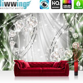 liwwing Vlies Fototapete 254x184cm PREMIUM PLUS Wand Foto Tapete Wand Bild Vliestapete - Ornamente Tapete Perlen Diamanten Wellen grün - no. 3314