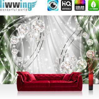 liwwing Vlies Fototapete 312x219cm PREMIUM PLUS Wand Foto Tapete Wand Bild Vliestapete - Ornamente Tapete Perlen Diamanten Wellen grün - no. 3314