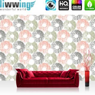 liwwing Fototapete 254x184cm PREMIUM Wand Foto Tapete Wand Bild Papiertapete - Texturen Tapete Kugeln Kreise Perlen Donuts bunt - no. 3465