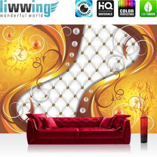 liwwing Vlies Fototapete 416x254cm PREMIUM PLUS Wand Foto Tapete Wand Bild Vliestapete - Illustrationen Tapete Illustration Abstrakt Ornamente gelb - no. 3151
