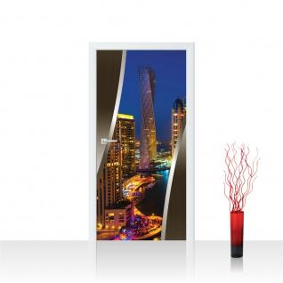 Türtapete - Skyline Panorama Hafen Lightning Rahmen | no. 624
