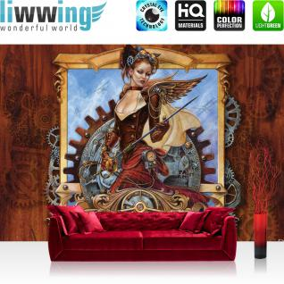 liwwing Vlies Fototapete 416x254cm PREMIUM PLUS Wand Foto Tapete Wand Bild Vliestapete - Illustrationen Alchemy Tapete Uhrwerk Steam Punk Engel Doppeldecker bunt - no. 3501