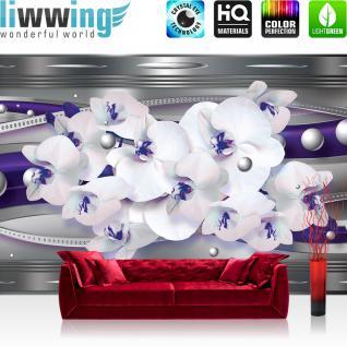 liwwing Vlies Fototapete 416x254cm PREMIUM PLUS Wand Foto Tapete Wand Bild Vliestapete - Ornamente Tapete Blume Orchidee Blüte Perlen Streifen Linien grau - no. 2842