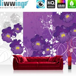 liwwing Vlies Fototapete 416x254cm PREMIUM PLUS Wand Foto Tapete Wand Bild Vliestapete - Ornamente Tapete Blume Blüte Blätter Ranke Streifen lila - no. 2833