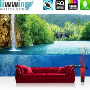 liwwing Fototapete 368x254 cm PREMIUM Wand Foto Tapete Wand Bild Papiertapete - Tiere Tapete Delfine Tiere Wasser Wasserfall Bäume Wald blau - no. 2043