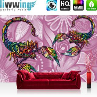 liwwing Vlies Fototapete 416x254cm PREMIUM PLUS Wand Foto Tapete Wand Bild Vliestapete - Illustrationen Tapete Illustration Blume Tiere Scorpion bunt - no. 1890