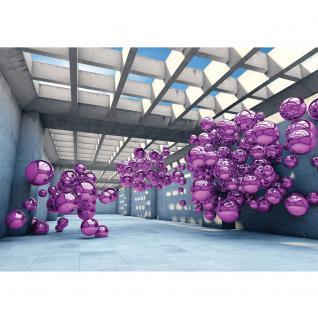 liwwing Vlies Fototapete 208x146cm PREMIUM PLUS Wand Foto Tapete Wand Bild Vliestapete - Architektur Tapete Arkaden Seifenblasen Kugeln bunt - no. 3246 - Vorschau 2