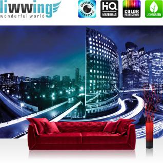 liwwing Fototapete 254x168 cm PREMIUM Wand Foto Tapete Wand Bild Papiertapete - Skylines Tapete Häuser Skyline Nacht Lightning New York blau - no. 605
