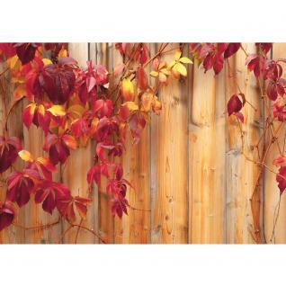 liwwing Fototapete 368x254 cm PREMIUM Wand Foto Tapete Wand Bild Papiertapete - Holz Tapete Holzwand Holzoptik Blätter Herbst Natur rot - no. 532 - Vorschau 2