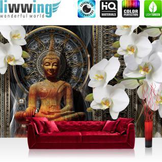 liwwing Vlies Fototapete 312x219cm PREMIUM PLUS Wand Foto Tapete Wand Bild Vliestapete - Orchideen Tapete Blumen Blüten Orchideen Buddah Muster gold - no. 3021