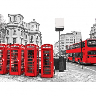Fototapete London Tapete London Bus Telefonzelle schwarz - weiß | no. 1296